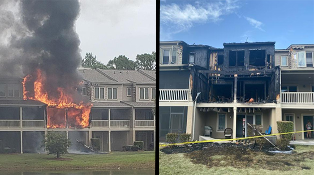 Flames engulfing second and third floor of 1 of 7 unit residential building and the aftermath